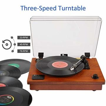 1 BY ONE Schallplattenspieler Riemengetriebener Wireless Plattenspieler mit Eingebautem Lautsprechern und Vinyl to MP3 Funktion, im Klassischem Design, Naturholz - 2