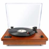1 BY ONE Schallplattenspieler Riemengetriebener Wireless Plattenspieler mit Eingebautem Lautsprechern und Vinyl to MP3 Funktion, im Klassischem Design, Naturholz - 1