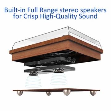 1 BY ONE Schallplattenspieler Riemengetriebener Wireless Plattenspieler mit Eingebautem Lautsprechern und Vinyl to MP3 Funktion, im Klassischem Design, Naturholz - 3
