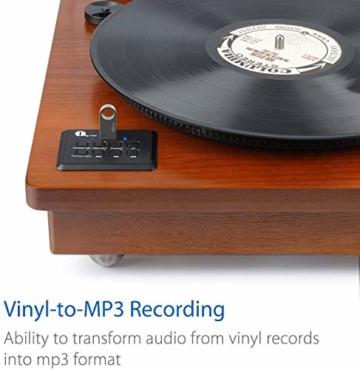 1 BY ONE Schallplattenspieler Riemengetriebener Wireless Plattenspieler mit Eingebautem Lautsprechern und Vinyl to MP3 Funktion, im Klassischem Design, Naturholz - 4