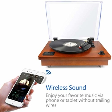 1 BY ONE Schallplattenspieler Riemengetriebener Wireless Plattenspieler mit Eingebautem Lautsprechern und Vinyl to MP3 Funktion, im Klassischem Design, Naturholz - 5