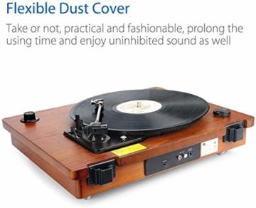 1 BY ONE Schallplattenspieler Riemengetriebener Wireless Plattenspieler mit Eingebautem Lautsprechern und Vinyl to MP3 Funktion, im Klassischem Design, Naturholz - 6