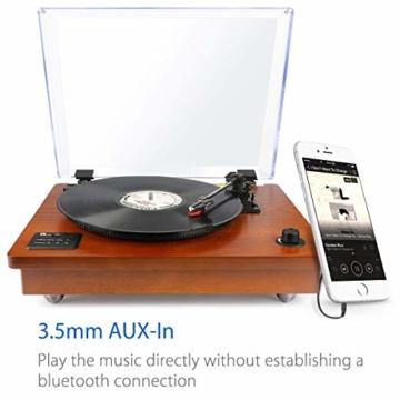 1 BY ONE Schallplattenspieler Riemengetriebener Wireless Plattenspieler mit Eingebautem Lautsprechern und Vinyl to MP3 Funktion, im Klassischem Design, Naturholz - 7