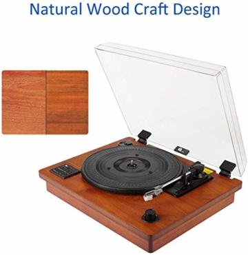1 BY ONE Schallplattenspieler Riemengetriebener Wireless Plattenspieler mit Eingebautem Lautsprechern und Vinyl to MP3 Funktion, im Klassischem Design, Naturholz - 8