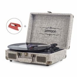 ammoon Plattenspieler Vinyl-Schallplattenspieler 3 Gang, mit 2 Stereo-Lautsprechern, Unterstützt Bluetooth, RCA-Ausgang, 3,5 mm Aux-In, Kopfhöreranschluss, SD-Eingang mit Zwei Plattenspieler Nadel - 1