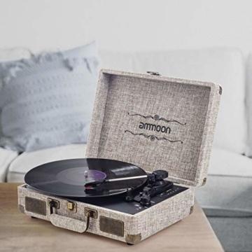 ammoon Plattenspieler Vinyl-Schallplattenspieler 3 Gang, mit 2 Stereo-Lautsprechern, Unterstützt Bluetooth, RCA-Ausgang, 3,5 mm Aux-In, Kopfhöreranschluss, SD-Eingang mit Zwei Plattenspieler Nadel - 8