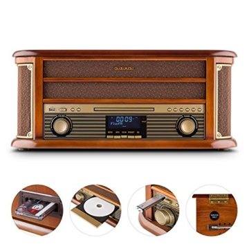 auna Belle Epoque 1908, Retroanlage, Plattenspieler, Stereoanlage, Digitalradio, DAB+, Plattenspieler, Radio-Tuner, Bluetooth, CD-Player, MP3-fähig, RDS, Kassettendeck, USB-Port, braun - 2