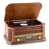 auna Belle Epoque 1908, Retroanlage, Plattenspieler, Stereoanlage, Digitalradio, DAB+, Plattenspieler, Radio-Tuner, Bluetooth, CD-Player, MP3-fähig, RDS, Kassettendeck, USB-Port, braun - 1