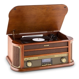 auna Belle Epoque 1908, Retroanlage, Plattenspieler, Stereoanlage, Digitalradio, DAB+, Plattenspieler, Radio-Tuner, Bluetooth, CD-Player, MP3-fähig, RDS, Kassettendeck, USB-Port, braun - 1