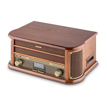 auna Belle Epoque 1908, Retroanlage, Plattenspieler, Stereoanlage, Digitalradio, DAB+, Plattenspieler, Radio-Tuner, Bluetooth, CD-Player, MP3-fähig, RDS, Kassettendeck, USB-Port, braun - 4