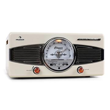 auna MG-TT-82C - Retroanlage, Stereoanlage, Plattenspieler, Riemenantrieb, max. 45 U/min, Stereo-Lautsprecher, 50er Design, Start-Stopp-Automatik, Radio-Tuner, UKW-Empfänger, Cinch, Creme - 2
