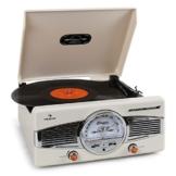 auna MG-TT-82C - Retroanlage, Stereoanlage, Plattenspieler, Riemenantrieb, max. 45 U/min, Stereo-Lautsprecher, 50er Design, Start-Stopp-Automatik, Radio-Tuner, UKW-Empfänger, Cinch, Creme - 1