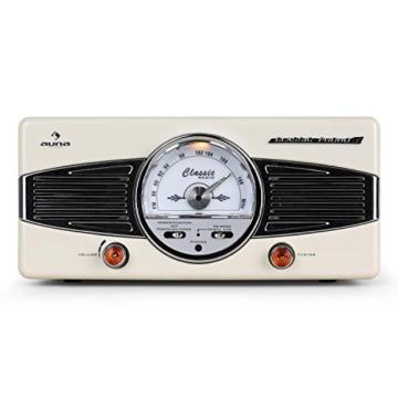 auna MG-TT-82C - Retroanlage, Stereoanlage, Plattenspieler, Riemenantrieb, max. 45 U/min, Stereo-Lautsprecher, 50er Design, Start-Stopp-Automatik, Radio-Tuner, UKW-Empfänger, Cinch, Creme - 3