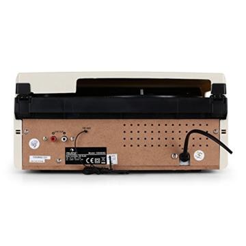 auna MG-TT-82C - Retroanlage, Stereoanlage, Plattenspieler, Riemenantrieb, max. 45 U/min, Stereo-Lautsprecher, 50er Design, Start-Stopp-Automatik, Radio-Tuner, UKW-Empfänger, Cinch, Creme - 4