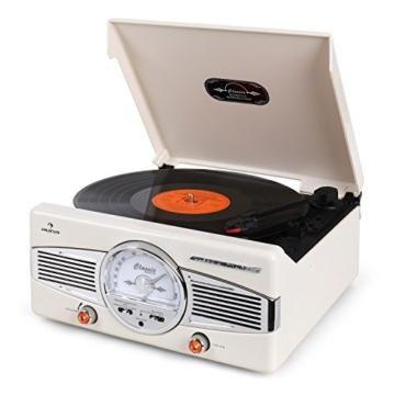 auna MG-TT-82C - Retroanlage, Stereoanlage, Plattenspieler, Riemenantrieb, max. 45 U/min, Stereo-Lautsprecher, 50er Design, Start-Stopp-Automatik, Radio-Tuner, UKW-Empfänger, Cinch, Creme - 5