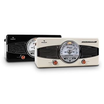 auna MG-TT-82C - Retroanlage, Stereoanlage, Plattenspieler, Riemenantrieb, max. 45 U/min, Stereo-Lautsprecher, 50er Design, Start-Stopp-Automatik, Radio-Tuner, UKW-Empfänger, Cinch, Creme - 6