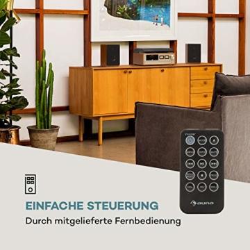 auna Oxford Retro-Stereoanlage - DAB+, FM Radiotuner, 2 Lautsprecher mit 20 W max. Bluetooth, Plattenspieler, Riemenantrieb mit 33, 45, 3 Geschwindigkeiten, MP3-fähigen CD-Player, AUX-In, Champagner - 2