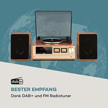 auna Oxford Retro-Stereoanlage - DAB+, FM Radiotuner, 2 Lautsprecher mit 20 W max. Bluetooth, Plattenspieler, Riemenantrieb mit 33, 45, 3 Geschwindigkeiten, MP3-fähigen CD-Player, AUX-In, Champagner - 3