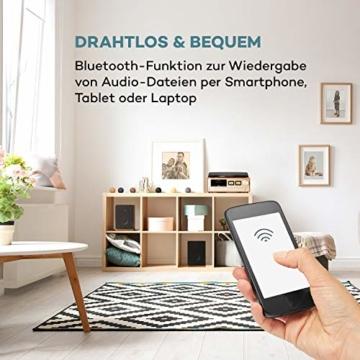auna Oxford Retro-Stereoanlage - DAB+, FM Radiotuner, 2 Lautsprecher mit 20 W max. Bluetooth, Plattenspieler, Riemenantrieb mit 33, 45, 3 Geschwindigkeiten, MP3-fähigen CD-Player, AUX-In, Champagner - 4