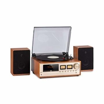 auna Oxford Retro-Stereoanlage - DAB+, FM Radiotuner, 2 Lautsprecher mit 20 W max. Bluetooth, Plattenspieler, Riemenantrieb mit 33, 45, 3 Geschwindigkeiten, MP3-fähigen CD-Player, AUX-In, Champagner - 1