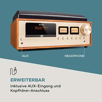 auna Oxford Retro-Stereoanlage - DAB+, FM Radiotuner, 2 Lautsprecher mit 20 W max. Bluetooth, Plattenspieler, Riemenantrieb mit 33, 45, 3 Geschwindigkeiten, MP3-fähigen CD-Player, AUX-In, Champagner - 5