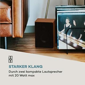 auna Oxford Retro-Stereoanlage - DAB+, FM Radiotuner, 2 Lautsprecher mit 20 W max. Bluetooth, Plattenspieler, Riemenantrieb mit 33, 45, 3 Geschwindigkeiten, MP3-fähigen CD-Player, AUX-In, Champagner - 6