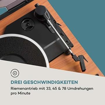 auna Oxford Retro-Stereoanlage - DAB+, FM Radiotuner, 2 Lautsprecher mit 20 W max. Bluetooth, Plattenspieler, Riemenantrieb mit 33, 45, 3 Geschwindigkeiten, MP3-fähigen CD-Player, AUX-In, Champagner - 7
