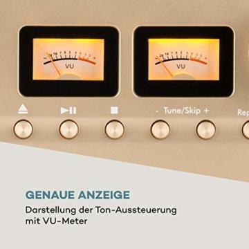 auna Oxford Retro-Stereoanlage - DAB+, FM Radiotuner, 2 Lautsprecher mit 20 W max. Bluetooth, Plattenspieler, Riemenantrieb mit 33, 45, 3 Geschwindigkeiten, MP3-fähigen CD-Player, AUX-In, Champagner - 8