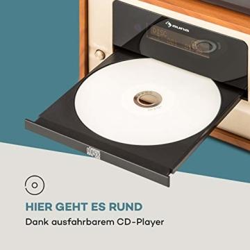 auna Oxford Retro-Stereoanlage - DAB+, FM Radiotuner, 2 Lautsprecher mit 20 W max. Bluetooth, Plattenspieler, Riemenantrieb mit 33, 45, 3 Geschwindigkeiten, MP3-fähigen CD-Player, AUX-In, Champagner - 9