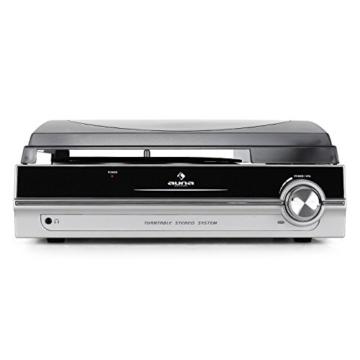 auna TBA-928 - Plattenspieler mit Lautsprecher, Schallplattenspieler, Riemenantrieb, 33/45 U/min, Start-Stopp-Automatik, 3,5 mm-Klinke, Stereo-Cinch-Line-Out, schwarz-silber - 2