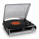 auna TBA-928 - Plattenspieler mit Lautsprecher, Schallplattenspieler, Riemenantrieb, 33/45 U/min, Start-Stopp-Automatik, 3,5 mm-Klinke, Stereo-Cinch-Line-Out, schwarz-silber - 1