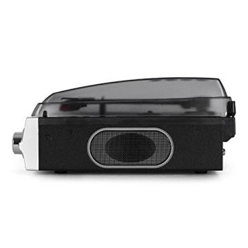 auna TBA-928 - Plattenspieler mit Lautsprecher, Schallplattenspieler, Riemenantrieb, 33/45 U/min, Start-Stopp-Automatik, 3,5 mm-Klinke, Stereo-Cinch-Line-Out, schwarz-silber - 4