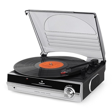 auna TBA-928 - Plattenspieler mit Lautsprecher, Schallplattenspieler, Riemenantrieb, 33/45 U/min, Start-Stopp-Automatik, 3,5 mm-Klinke, Stereo-Cinch-Line-Out, schwarz-silber - 5