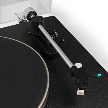 Blaupunkt TT 100 C Plattenspieler mit Deckel, gefederte Stand-Füße, Plattenspieler Retro mit Audio Technica MM System, Turntable, 2 Geschwindigkeiten, Abschaltautomatik, Antiskating, Riemen-Antrieb - 4