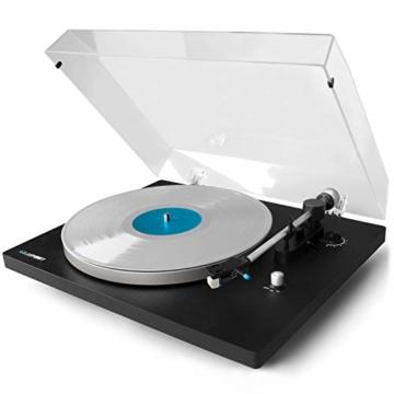 Blaupunkt TT 100 C Plattenspieler mit Deckel, gefederte Stand-Füße, Plattenspieler Retro mit Audio Technica MM System, Turntable, 2 Geschwindigkeiten, Abschaltautomatik, Antiskating, Riemen-Antrieb - 1