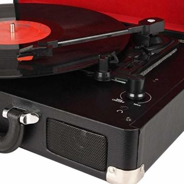 DIGITNOW! Belt-Drive 3-Gang-Portable Stereo-Plattenspieler mit eingebauten Lautsprechern, unterstützt RCA-Ausgang / 3,5 mm Aux-In/Kopfhöreranschluss / MP3, Mobiltelefone Musikwiedergabe - 2