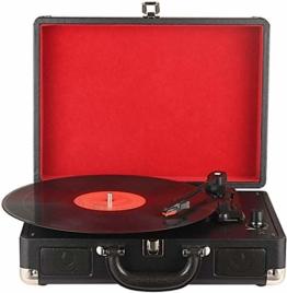 DIGITNOW! Belt-Drive 3-Gang-Portable Stereo-Plattenspieler mit eingebauten Lautsprechern, unterstützt RCA-Ausgang / 3,5 mm Aux-In/Kopfhöreranschluss / MP3, Mobiltelefone Musikwiedergabe - 1