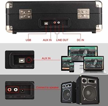 DIGITNOW! Belt-Drive 3-Gang-Portable Stereo-Plattenspieler mit eingebauten Lautsprechern, unterstützt RCA-Ausgang / 3,5 mm Aux-In/Kopfhöreranschluss / MP3, Mobiltelefone Musikwiedergabe - 4