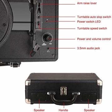 DIGITNOW! Belt-Drive 3-Gang-Portable Stereo-Plattenspieler mit eingebauten Lautsprechern, unterstützt RCA-Ausgang / 3,5 mm Aux-In/Kopfhöreranschluss / MP3, Mobiltelefone Musikwiedergabe - 5