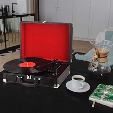 DIGITNOW! Belt-Drive 3-Gang-Portable Stereo-Plattenspieler mit eingebauten Lautsprechern, unterstützt RCA-Ausgang / 3,5 mm Aux-In/Kopfhöreranschluss / MP3, Mobiltelefone Musikwiedergabe - 7