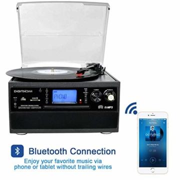 DIGITNOW! Plattenspieler mit Stereo Lautsprechern, Schallplattenspieler Kompaktanlage Stützen Bluetooth/CD/Kassettendeck/Radio/Vinyl to MP3 USB-Codierung / 33 45 78 U/Min/Fernbedienung - 2