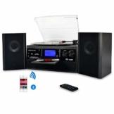 DIGITNOW! Plattenspieler mit Stereo Lautsprechern, Schallplattenspieler Kompaktanlage Stützen Bluetooth/CD/Kassettendeck/Radio/Vinyl to MP3 USB-Codierung / 33 45 78 U/Min/Fernbedienung - 1
