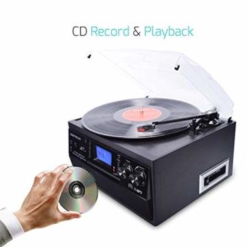 DIGITNOW! Plattenspieler mit Stereo Lautsprechern, Schallplattenspieler Kompaktanlage Stützen Bluetooth/CD/Kassettendeck/Radio/Vinyl to MP3 USB-Codierung / 33 45 78 U/Min/Fernbedienung - 3