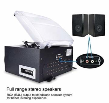 DIGITNOW! Plattenspieler mit Stereo Lautsprechern, Schallplattenspieler Kompaktanlage Stützen Bluetooth/CD/Kassettendeck/Radio/Vinyl to MP3 USB-Codierung / 33 45 78 U/Min/Fernbedienung - 4