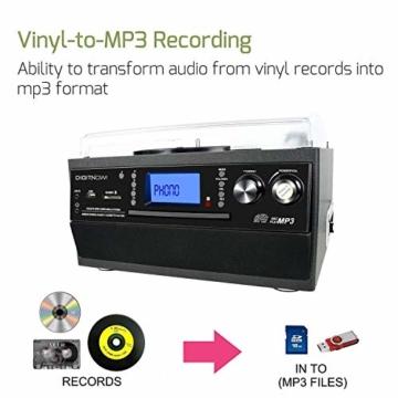 DIGITNOW! Plattenspieler mit Stereo Lautsprechern, Schallplattenspieler Kompaktanlage Stützen Bluetooth/CD/Kassettendeck/Radio/Vinyl to MP3 USB-Codierung / 33 45 78 U/Min/Fernbedienung - 5