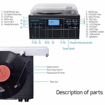 DIGITNOW! Plattenspieler mit Stereo Lautsprechern, Schallplattenspieler Kompaktanlage Stützen Bluetooth/CD/Kassettendeck/Radio/Vinyl to MP3 USB-Codierung / 33 45 78 U/Min/Fernbedienung - 6