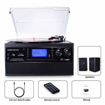 DIGITNOW! Plattenspieler mit Stereo Lautsprechern, Schallplattenspieler Kompaktanlage Stützen Bluetooth/CD/Kassettendeck/Radio/Vinyl to MP3 USB-Codierung / 33 45 78 U/Min/Fernbedienung - 7