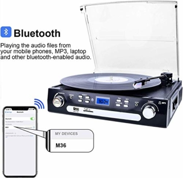 DIGITNOW! Plattenspieler Schallplattenspieler mit Stereo Lautsprechern ,Stützen Bluetooth | Kassette |AM / FM Radio| Vinyl to MP3 USB-Codierung | 33/45/78 U/min | Aux in - 3
