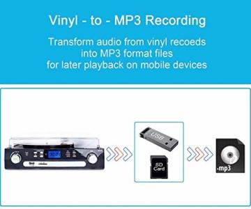 DIGITNOW! Plattenspieler Schallplattenspieler mit Stereo Lautsprechern ,Stützen Bluetooth | Kassette |AM / FM Radio| Vinyl to MP3 USB-Codierung | 33/45/78 U/min | Aux in - 4