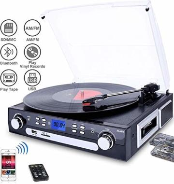 DIGITNOW! Plattenspieler Schallplattenspieler mit Stereo Lautsprechern ,Stützen Bluetooth | Kassette |AM / FM Radio| Vinyl to MP3 USB-Codierung | 33/45/78 U/min | Aux in - 1
